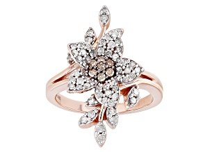 Pre-Owned Champagne And White Diamond 14k Rose Gold Ring .80ctw