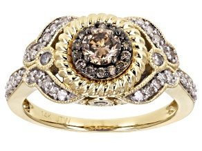 Pre-Owned Champagne And White Diamond 14k Yellow Gold Ring .63ctw