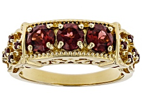 Pre-Owned Red garnet 18k gold over silver gent's ring 1.70ctw