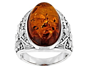 Pre-Owned Orange Amber Sterling Silver Ring