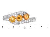 Pre-Owned Orange Spessartite Sterling Silver 3-Stone Ring .88ctw