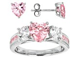 Pre-Owned Pink And White Cubic Zirconia Rhodium Over Sterling Silver Ring And Earrings 6.62ctw