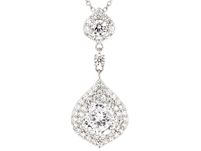 Pre-Owned Cubic Zirconia Silver Pendant With Chain 6.26ctw (3.23ctw DEW)