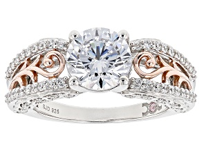 Pre-Owned White Cubic Zirconia Rhodium Over Silver & 18k Rose Gold Over Silver Ring 4.66ctw