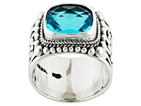 Pre-Owned Paraiba Blue Color Quartz Triplet Sterling Silver Ring