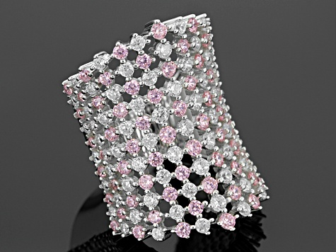 Pre-Owned Pink And White Cubic Zirconia Rhodium Over Sterling Silver Ring 9.65ctw
