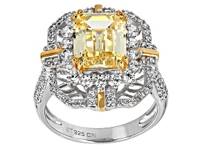 Pre-Owned Yellow And White Cubic Zirconia Rhodium Over Sterling Silver Ring 8.52ctw
