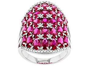 Pre-Owned Red lab created ruby sterling silver cluster ring 6.77ctw