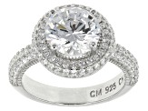 Pre-Owned White Cubic Zirconia Rhodium Over Silver Ring 5.94ctw.