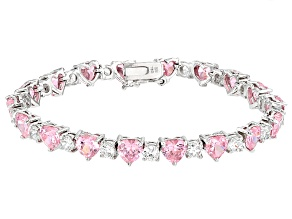 Pre-Owned Pink And White Cubic Zirconia Rhodium Over Sterling Silver Bracelet 31.10ctw