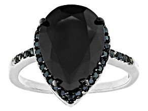 Pre-Owned Black Spinel Rhodium Over Sterling Silver Ring 5.86ctw