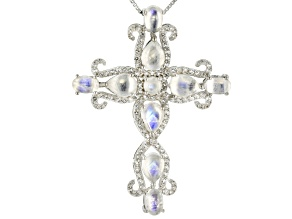 Pre-Owned White moonstone rhodium over silver cross pendant with chain .89ctw