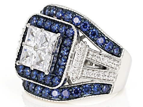 Pre-Owned Blue & White Cubic Zirconia Rhodium Over Sterling Silver Ring 6.21ctw