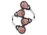 Pre-Owned Pink rhodochrosite rhodium over sterling silver ring