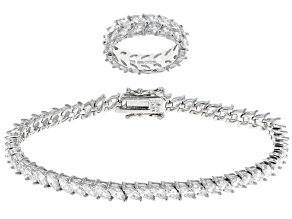 Pre-Owned Cubic Zirconia Rhodium Over Silver Ring And Bracelet Set 18.40ctw