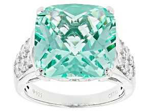 Pre-Owned Green Synthetic Spinel And White Cubic Zirconia Rhodium Over Sterling Silver Ring 12.59ctw