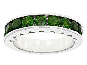 Pre-Owned Green Chrome Diopside Sterling Silver Gents Wedding Band Ring 2.30ctw