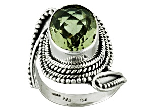 Pre-Owned Green Prasiolite Sterling Silver Ring 6.00ct