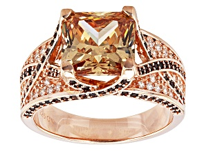 Pre-Owned Brown And White Cubic Zirconia 18k Rose Gold Over Silver Ring 6.98ctw (4.76ctw DEW)