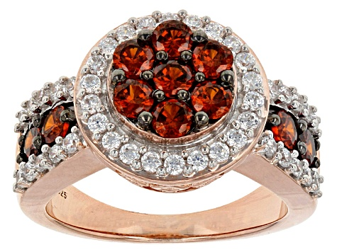 Pre-Owned Red And White Cubic Zirconia 18k Rose Gold Over Sterling Silver Ring 3.56ctw
