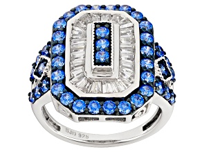 Pre-Owned Swarovski ® Blue Zirconia & White Cubic Zirconia Rhodium Over Silver Ring 3.99ctw