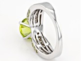 Pre-Owned Green Peridot Sterling Silver Ring 3.61ctw