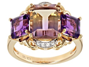 Pre-Owned Bi-color ametrine 18k gold over sterling silver ring 4.72ctw
