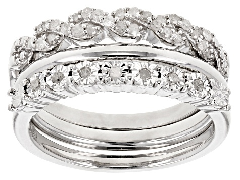 Pre-Owned Rhodium Over Sterling Silver Diamond Ring Set of 3 .25ctw