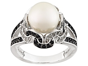 Pre-Owned Cultured Freshwater Pearl With Spinel And Zircon Rhodium Over Silver Ring