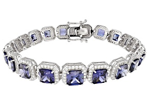 Pre-Owned Blue And White Cubic Zirconia Rhodium Over Silver Bracelet 36.00ctw