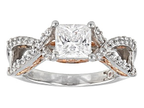 Pre-Owned Cubic Zirconia Silver And 18k Rose Gold Over Silver Ring 2.56ctw (1.56ctw DEW)