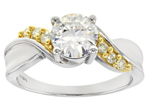 Pre-Owned Moissanite And Yellow Diamond Ring Platineve™
