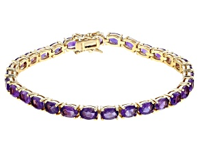 Pre-Owned Purple African amethyst 18k yellow gold over sterling silver tennis bracelet 11.18ctw