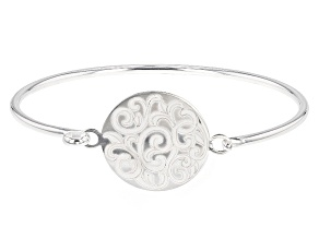 Pre-Owned Sterling Silver Round Filigree Engraved Tag Bangle Bracelet.