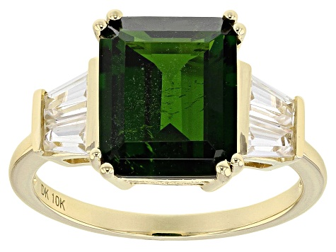 Pre-Owned Green Chrome Diopside 10k Yellow Gold Ring 4.69ctw