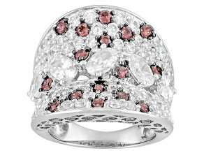 Pre-Owned Brown And White Cubic Zirconia Silver Ring 9.21ctw