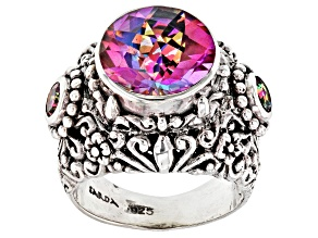 Pre-Owned Pink British Tearose™ Quartz Silver Ring 4.05ctw
