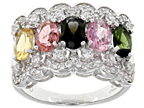 Pre-Owned Multi Tourmaline Sterling Silver Ring 2.65ctw