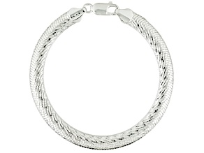 Pre-Owned Sterling Silver Bombe Herringbone Link Bracelet 7.5 inch