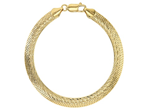 Pre-Owned 18K Yellow Gold Over Sterling Silver Bombe Herringbone Link Bracelet 7.5 inch