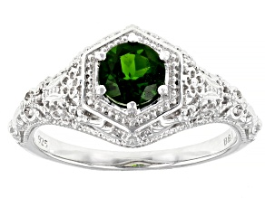 Pre-Owned Green chrome diopside  rhodium over sterling silver ring .75ct
