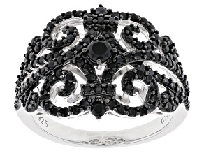 Pre-Owned Black Spinel Rhodium Over Sterling Silver Ring 1.40ctw