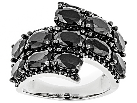 Pre-Owned Black Spinel Rhodium Over Sterling Silver Ring 5.85ctw