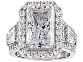 Pre-Owned White Cubic Zirconia Rhodium Over Sterling Silver Center Design Ring 14.83ctw
