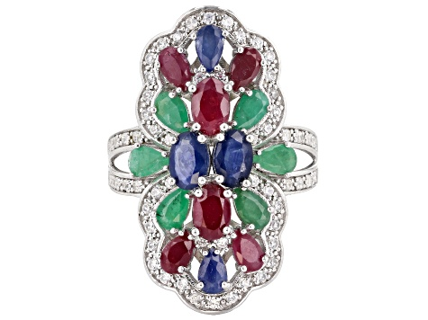 Pre-Owned Multi gem rhodium over sterling silver ring 5.10ctw