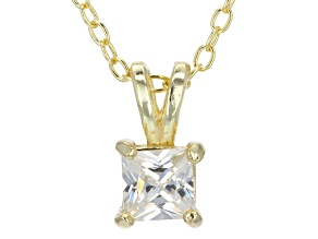 Pre-Owned .66ct Cubic Zirconia 18k Yellow Gold Over Sterling Silver Pendant With 18