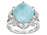 Pre-Owned Blue Larimar Sterling Silver Ring .17ctw