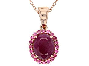Pre-Owned Red Ruby 18k Rose Gold Over Silver Pendant with Chain 3.38ctw