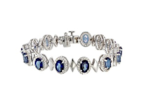 Pre-Owned Blue Danburite Rhodium Over Sterling Silver Bracelet 11.75ctw