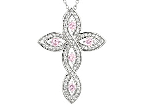 Pre-Owned Pink & White Cubic Zirconia Rhodium Over Sterling Silver Cross Pendant With Chain 1.18ctw
